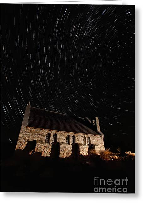 Church Of The Good Shepherd Startrail  Greeting Card by Bill  Robinson