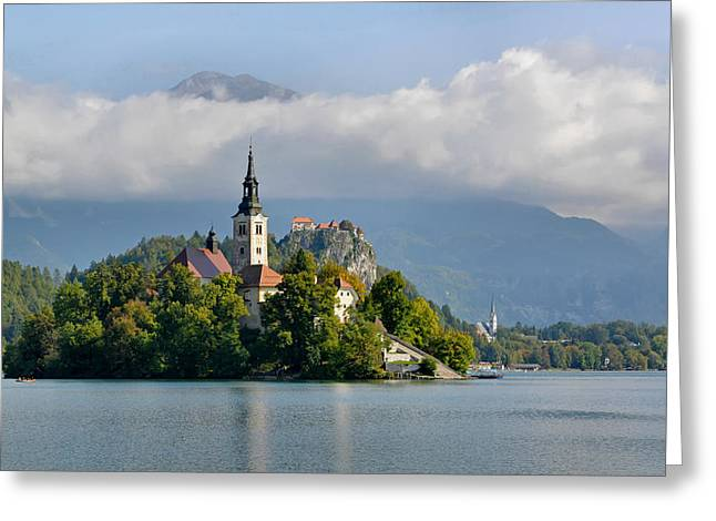 Church On Lake Bled Island Greeting Card by Joe Bonita
