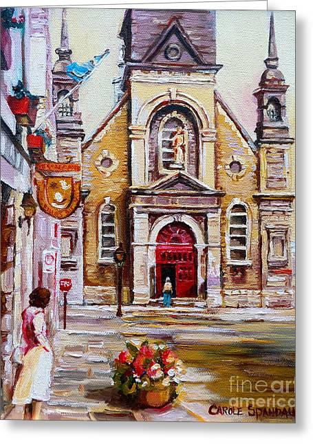 Church On Sunday Greeting Card by Carole Spandau
