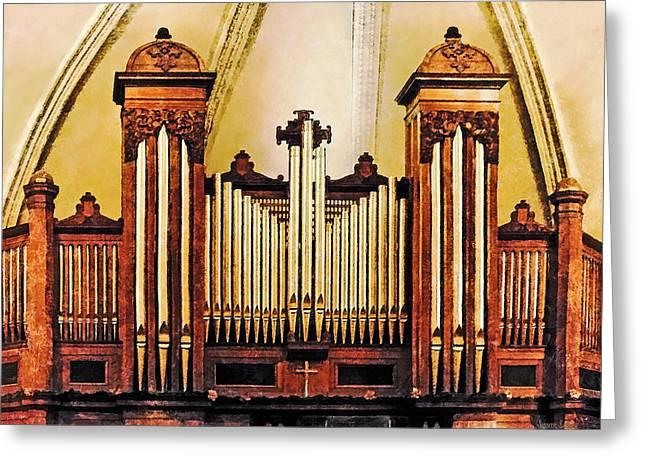 Church Organ Greeting Card by Susan Savad