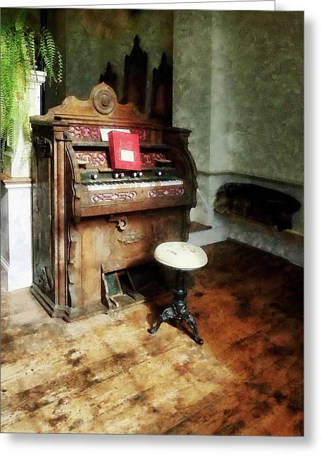 Church Organ With Swivel Stool Greeting Card by Susan Savad