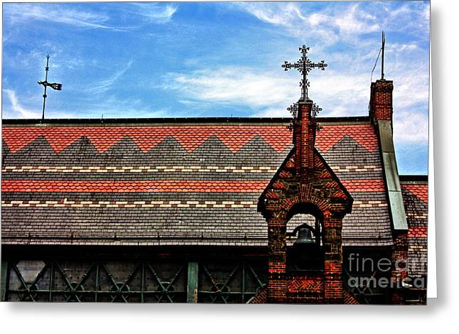 Church Roof With Cross Greeting Card by Nishanth Gopinathan