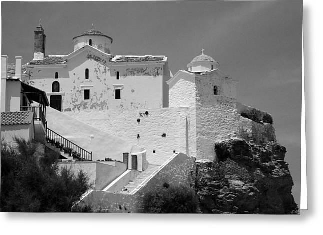 The Church Of Panagia Tou Pyrgou Greeting Card by Clive Beake