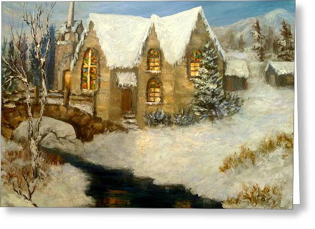 Church Snow Paintings Greeting Card