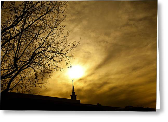 Greeting Card featuring the photograph Church Steeple Clouds Parting by Jerry Cowart