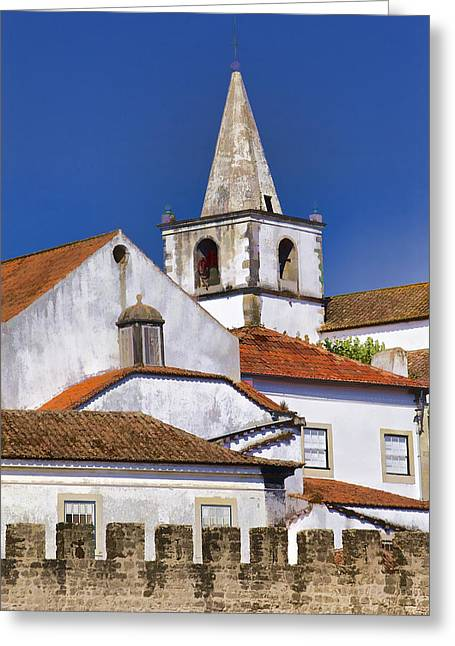 Church Steeple Of The Medieval Village Of Obidos Greeting Card