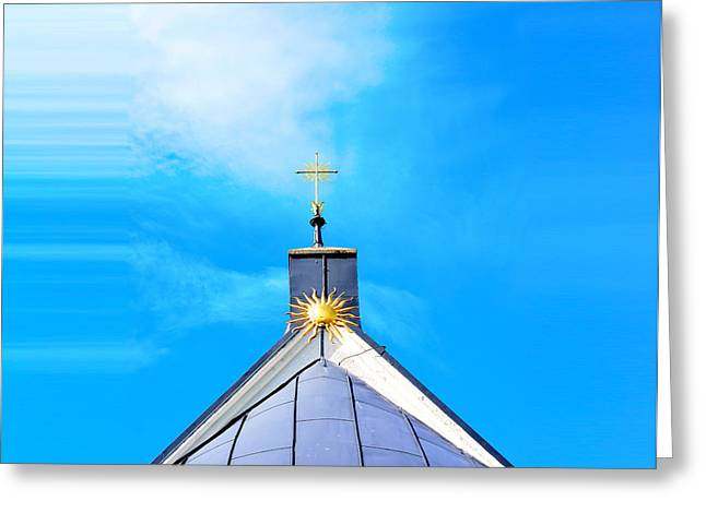 Church Top With Sun And Cross Greeting Card by Tommytechno Sweden