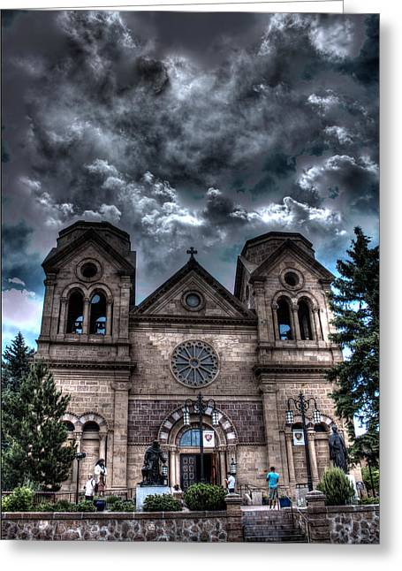 Church Under An Angry Sky Greeting Card by Dave Garner