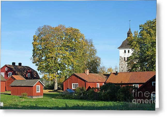 Church Village Greeting Card by Torbjorn Swenelius