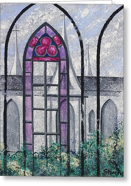 Greeting Card featuring the painting Church Window by Artists With Autism Inc
