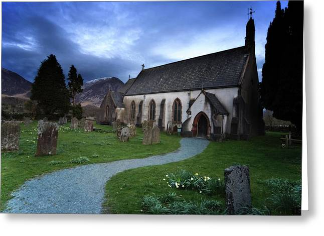Church With Cemetery, Lake District Greeting Card