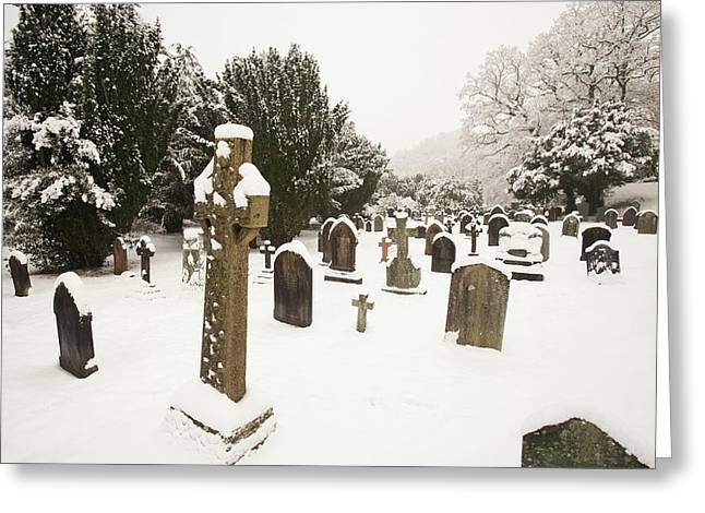 Church Yard In Snow Greeting Card