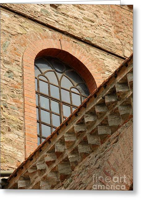 Churchwindow And Stonerow Greeting Card by Christiane Schulze Art And Photography