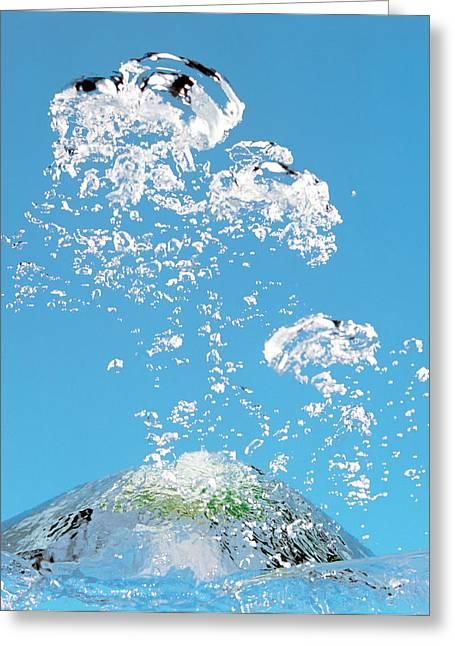 Churning Bubbles Rising Upwards In Blue Greeting Card