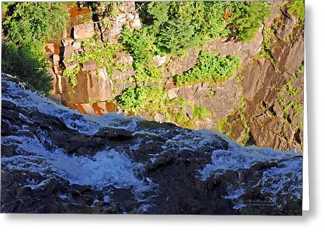 Churning Waters. Cliffs At Narada Falls Greeting Card by Connie Fox