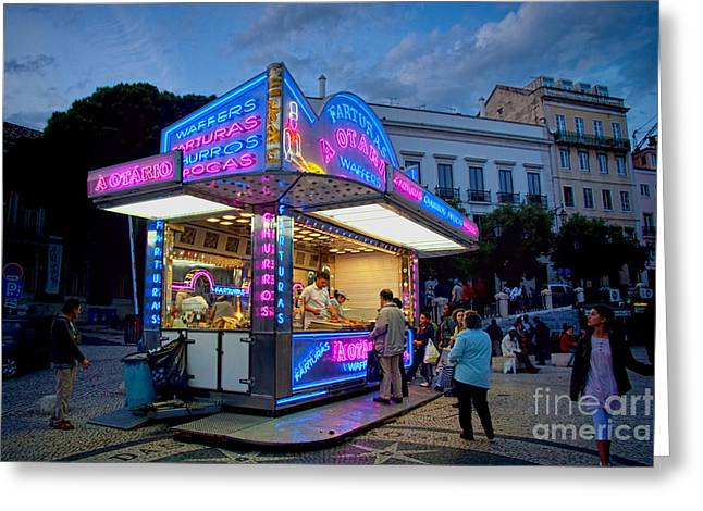Churros Stand With Neon Lights 1 Greeting Card