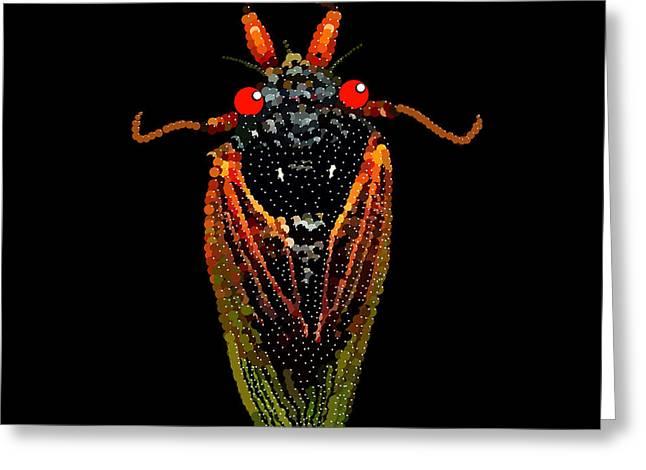 Cicada In Black Greeting Card by R  Allen Swezey