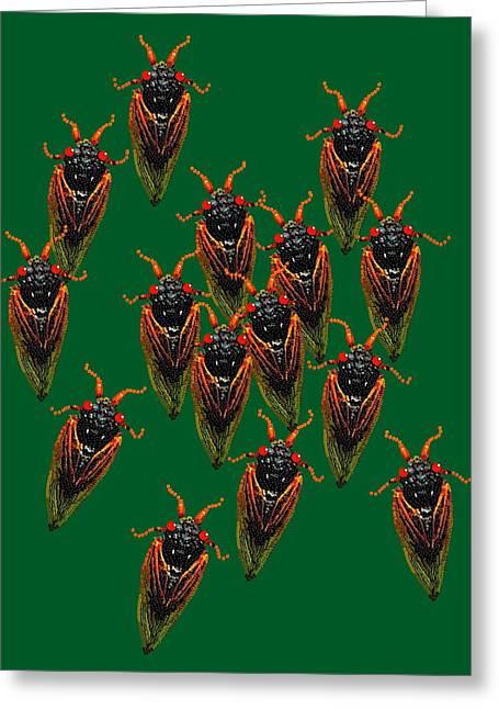 Cicadas In Green Greeting Card by R  Allen Swezey