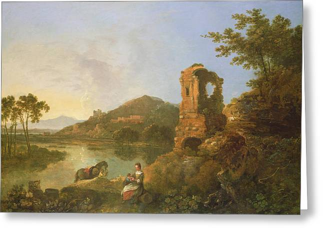 Ciceros Villa Oil On Canvas Greeting Card by Richard Wilson