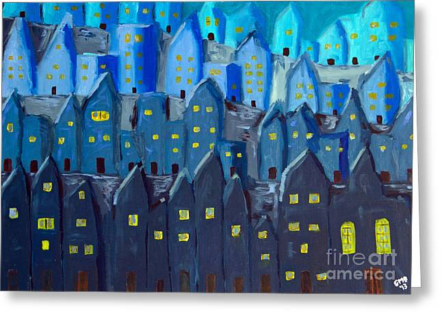 Cidade A Noite Greeting Card by Greg Mason Burns