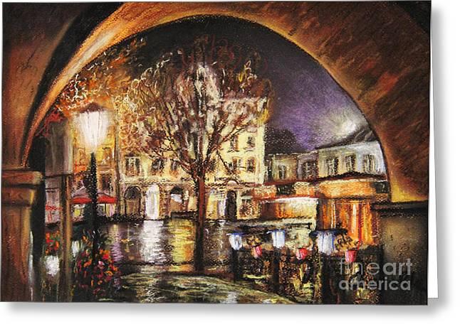 Cieszyn At Night Greeting Card