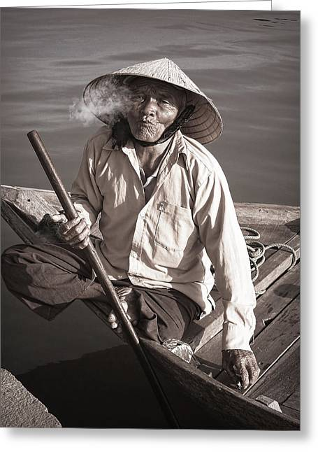 Greeting Card featuring the photograph Cigar Man by Kim Andelkovic