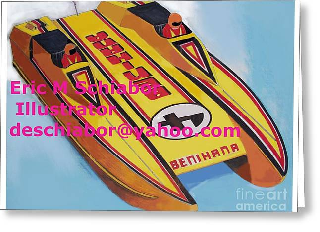 Cigarett Power Boat Illustration Greeting Card by Eric  Schiabor