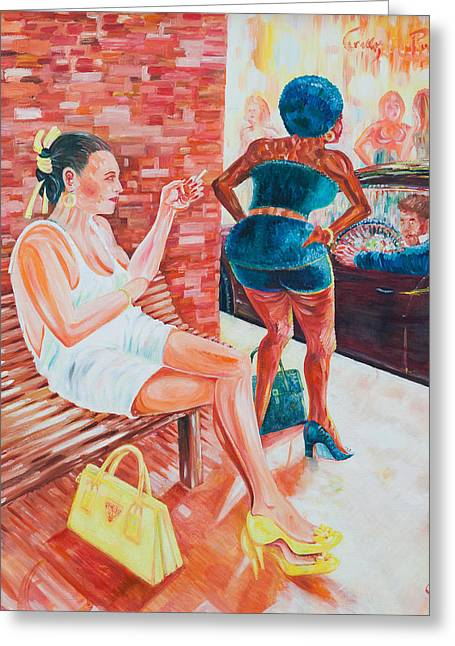 Greeting Card featuring the painting Cigarette Break by Giovanni Caputo