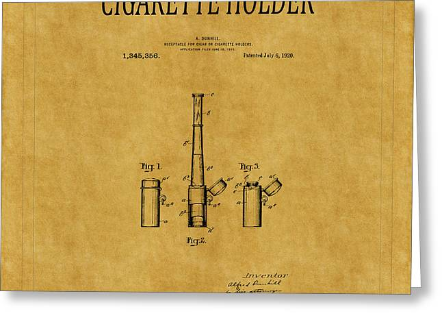 Cigarette Holder Patent 1 Greeting Card by Andrew Fare