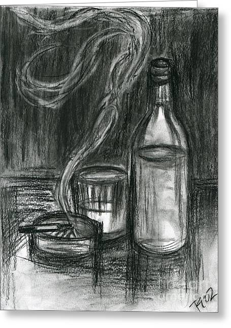 Cigarettes And Alcohol Greeting Card by Roz Abellera Art