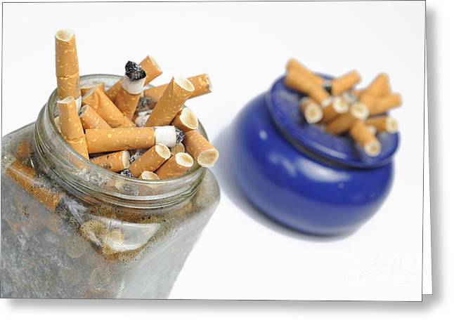Cigarettes Butts In Jar And Ashtray Greeting Card