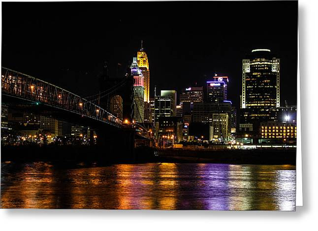 Greeting Card featuring the photograph Cincinnati By Night by Cathy Donohoue