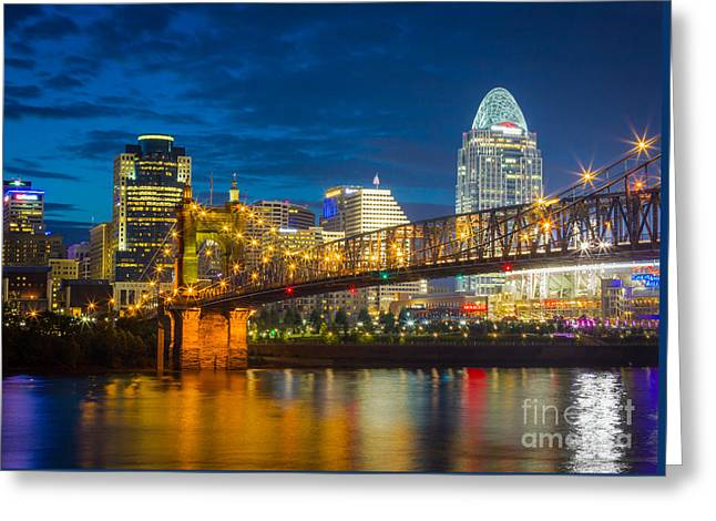 Cincinnati Downtown Greeting Card by Inge Johnsson