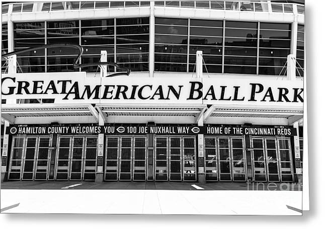 Cincinnati Great American Ball Park Black And White Picture Greeting Card by Paul Velgos