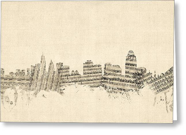 Cincinnati Ohio Skyline Sheet Music Cityscape Greeting Card by Michael Tompsett