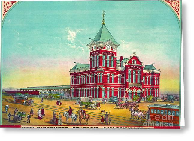 Cincinnati Railroad Station 1881 Greeting Card by Padre Art