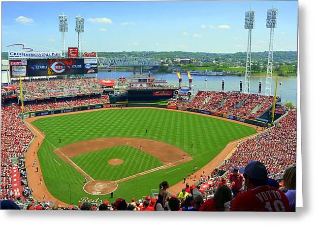Cincinnati Reds Stadium Greeting Card by Kathy Barney