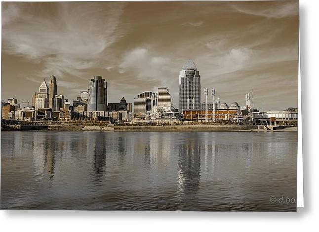 Cincinnati Riverfront Greeting Card by Diana Boyd