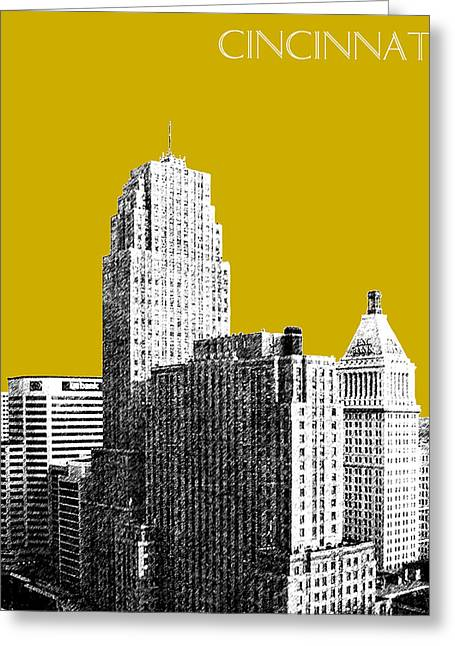 Cincinnati Skyline 2 - Gold Greeting Card by DB Artist