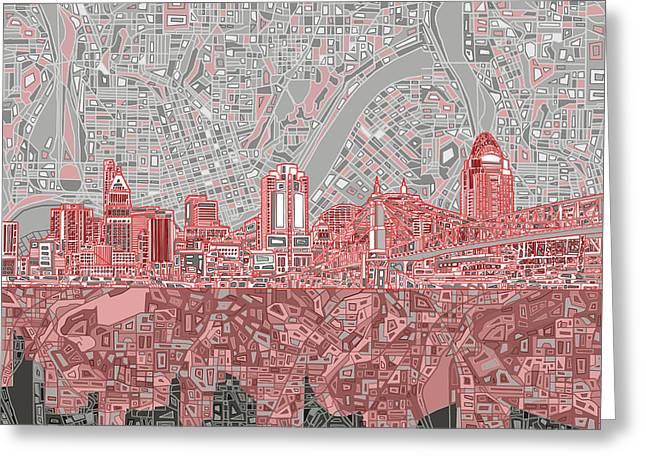 Cincinnati Skyline Abstract 4 Greeting Card