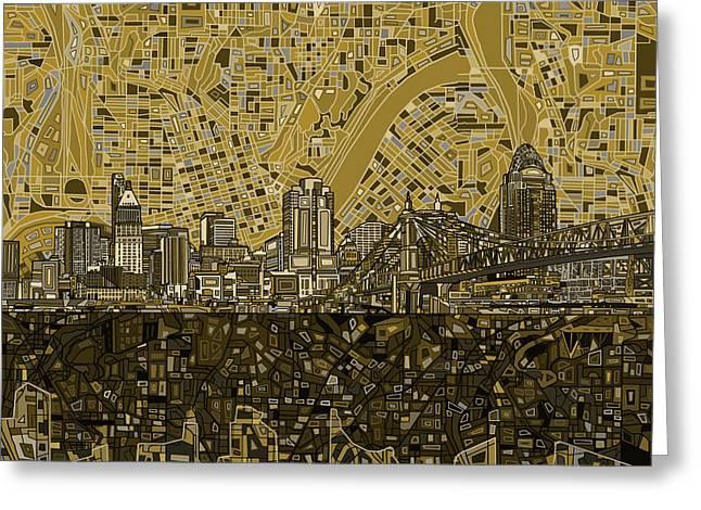 Cincinnati Skyline Abstract 5 Greeting Card