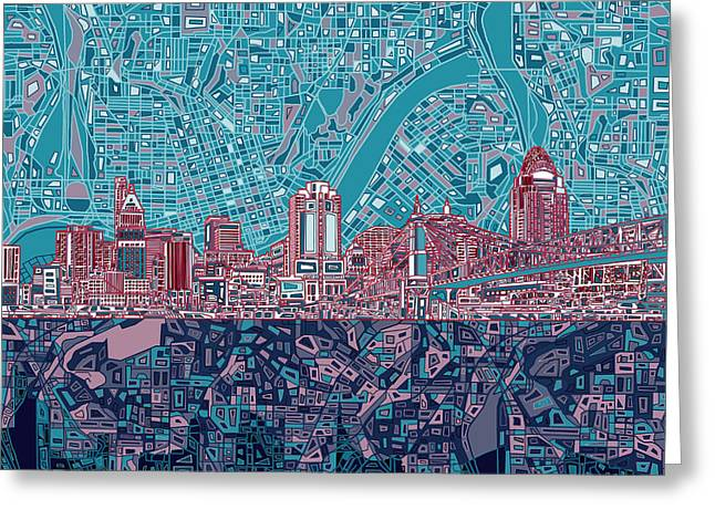 Cincinnati Skyline Abstract 6 Greeting Card