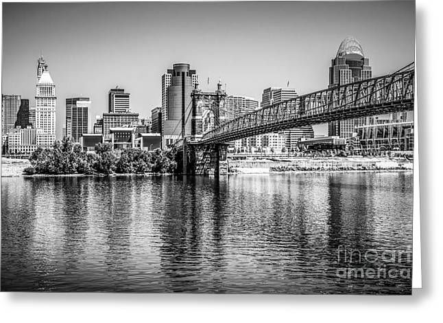 Cincinnati Skyline And Roebling Bridge Black And White Picture Greeting Card