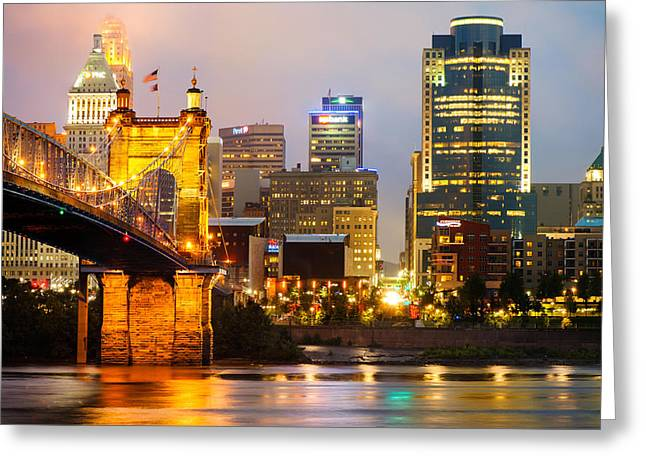 Cincinnati Skyline And The John A. Roebling Suspension Bridge Greeting Card