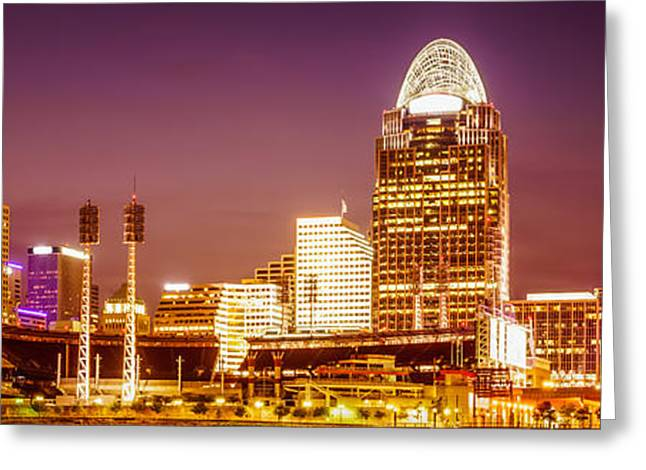 Cincinnati Skyline At Night Panoramic Picture Greeting Card