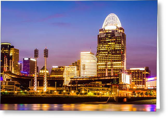 Cincinnati Skyline Night Panorama Photo Greeting Card by Paul Velgos