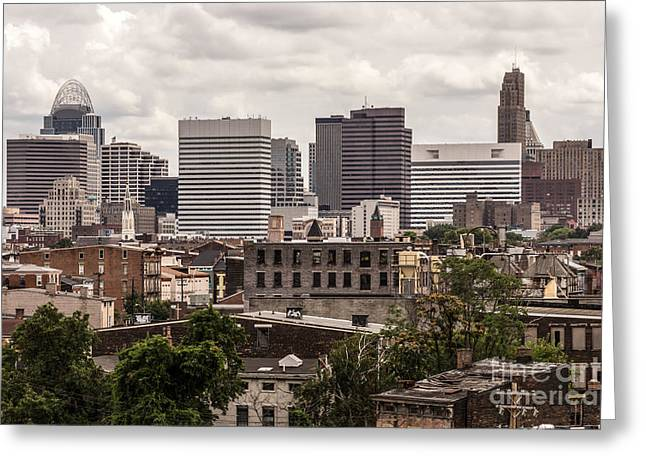 Cincinnati Skyline Old And New Buildings Greeting Card