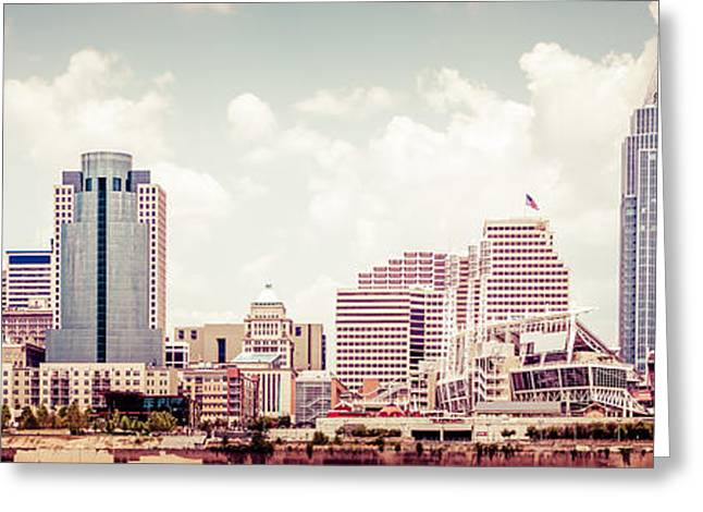 Cincinnati Skyline Panorama Vintage Photo Greeting Card by Paul Velgos