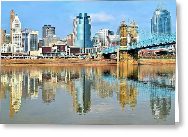 Cincinnati Skyline Reflects Greeting Card by Frozen in Time Fine Art Photography