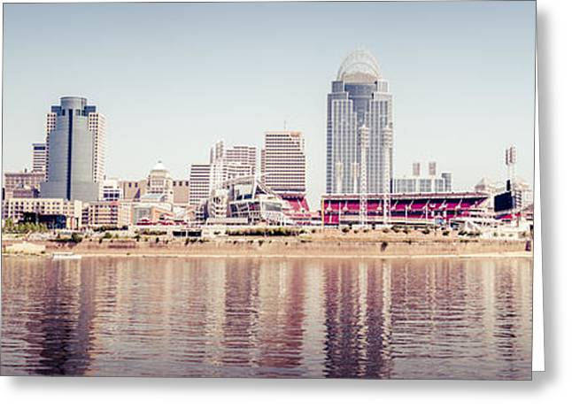 Cincinnati Skyline Retro Panorama Photo Greeting Card